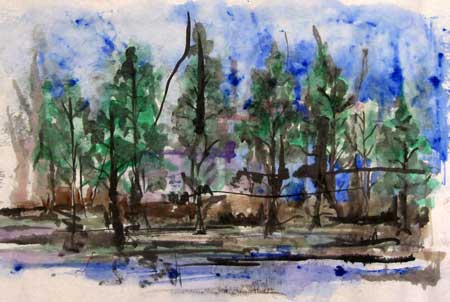 Loose watercolor of trees