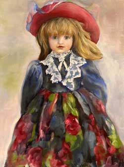 Doll painting, red hat